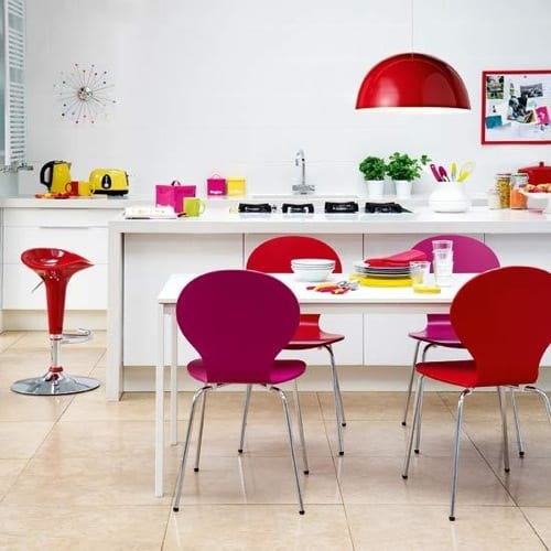 red and pink kitchen