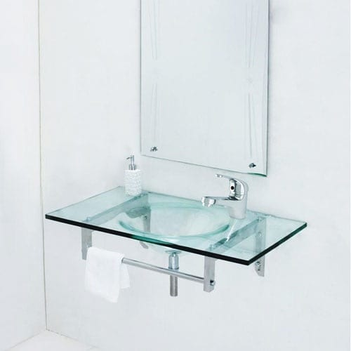 minimalist glass sink