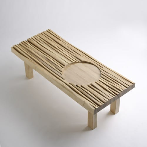 FSC-certified wood bench