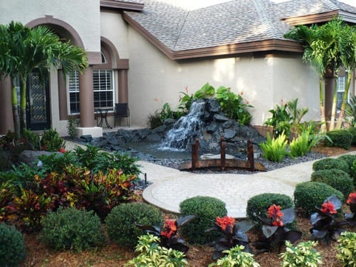 suburban waterfall feature
