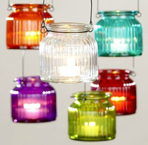 hanging colored tealights
