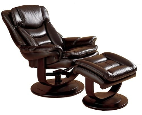 luxe leather recliner and ottoman