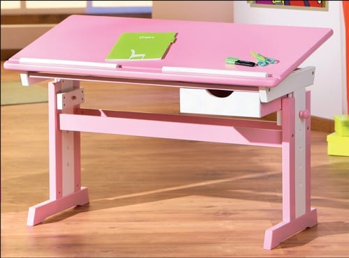 pink adjustable desk