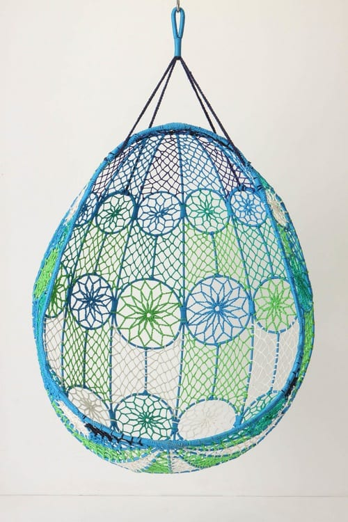 blue hanging nest chair