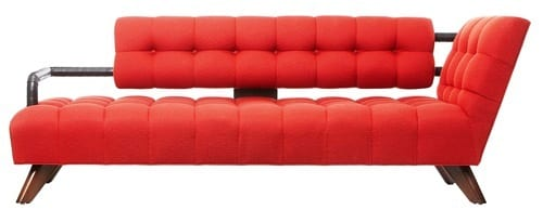 red tufted midcentury loveseat