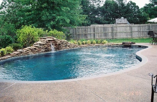 backyard pool waterfall