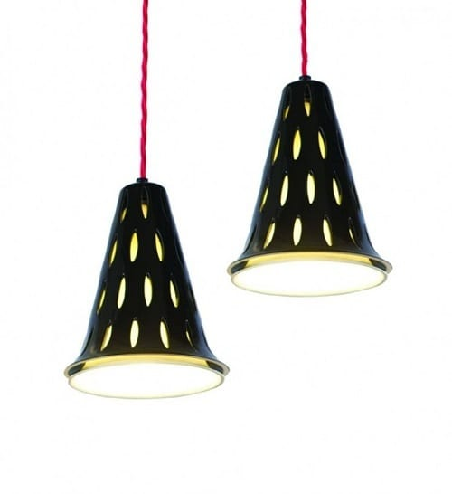 red and black hanging lamps