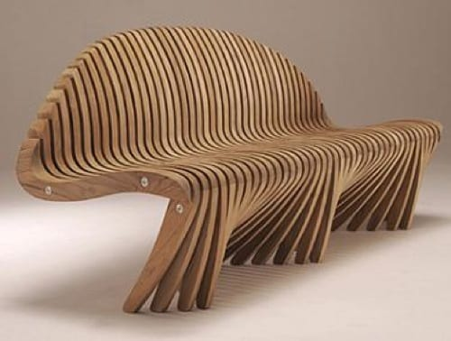 modern abstract wood bench