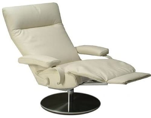 white swivel recliner