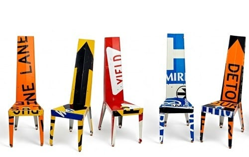street sign chairs