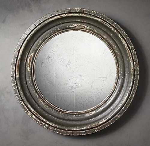 weathered wall mirror