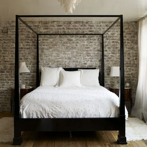 classic wood canopy bed