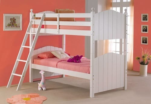 rustic white bunk bed