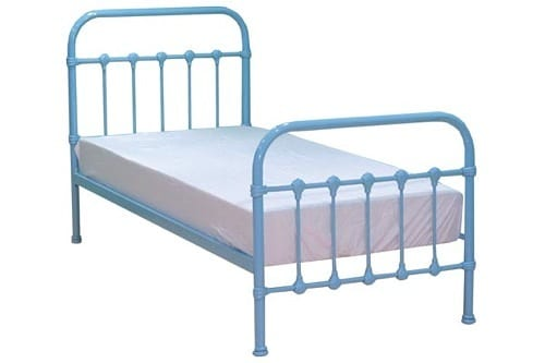 blue metal bed