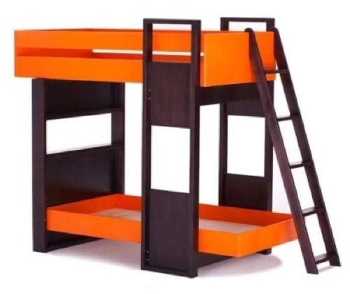 orange bunk bed