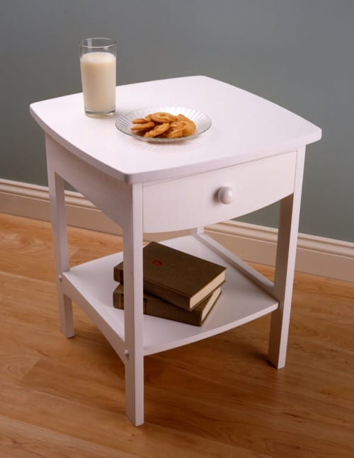 simple white nightstand