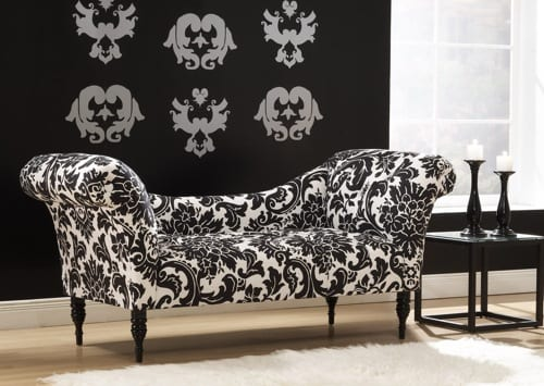 black and white lounger