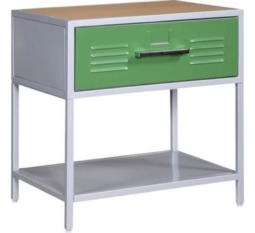 green and white nightstand
