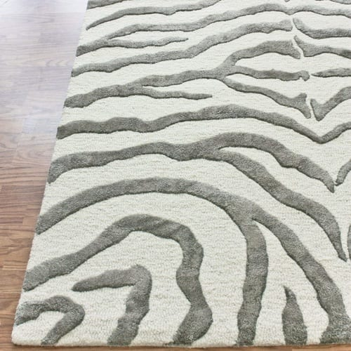 grey and white rug