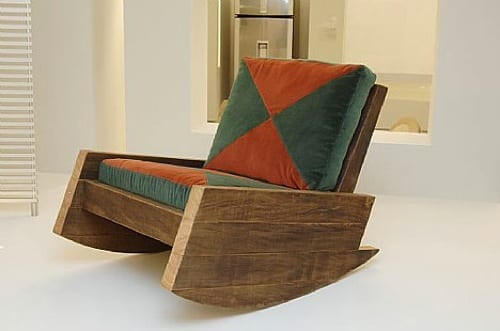 reclaimed wood rocking chair
