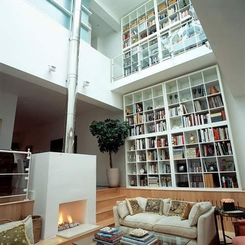 two-story bookshelves