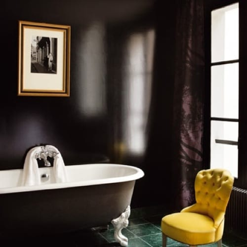 black and white clawfoot tub