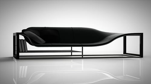 black art deco couch