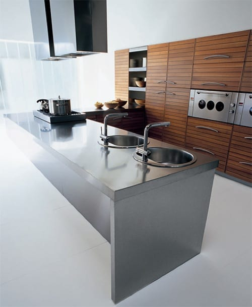 modern walnut kitchen