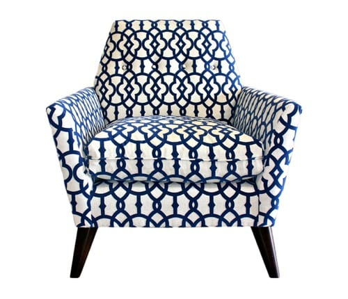 blue and white patterned chair