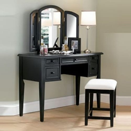 antiqued black vanity