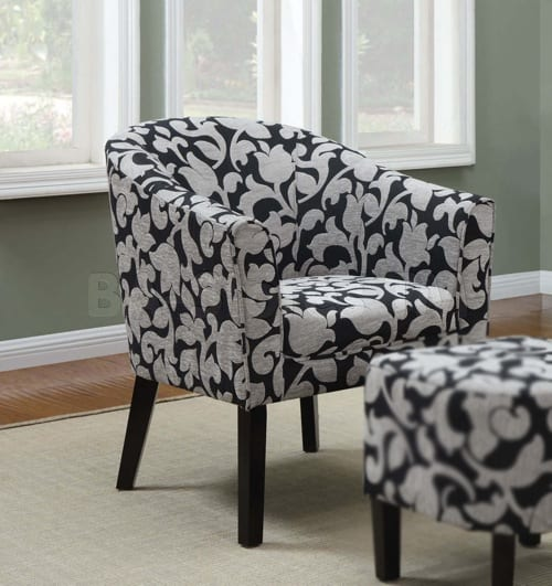 blue and white patterned chairs