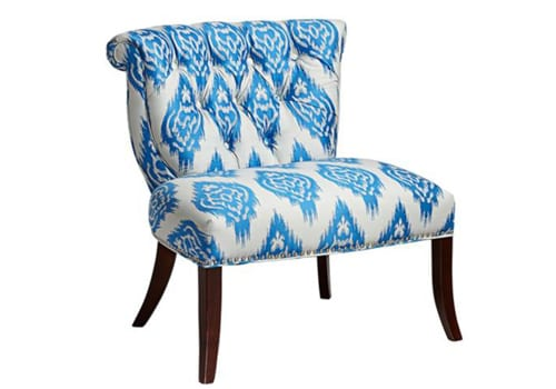 blue patterned chair