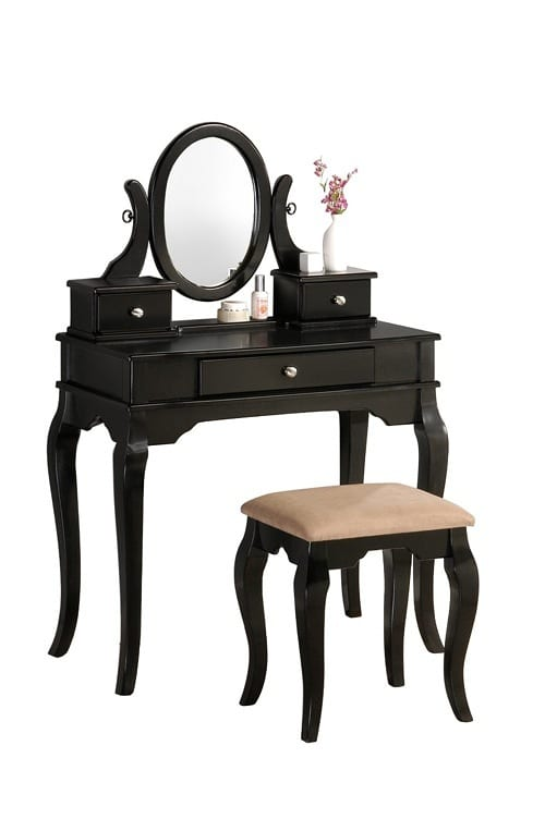 traditional black makeup table