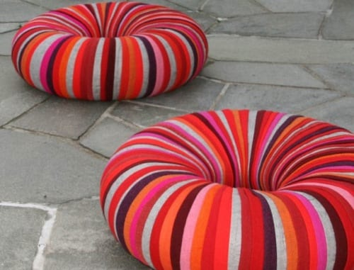 upcycled poufs