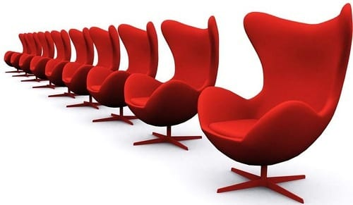 red egg chairs