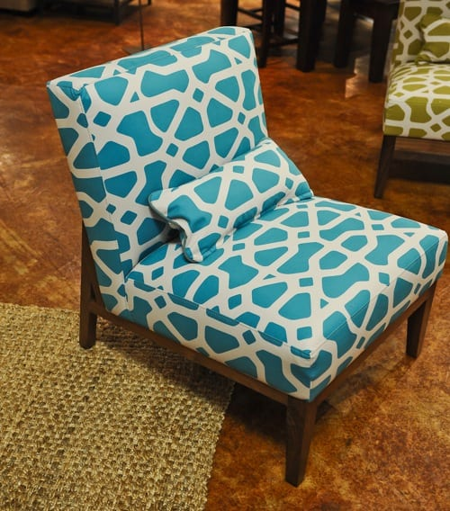 turquoise and white chair