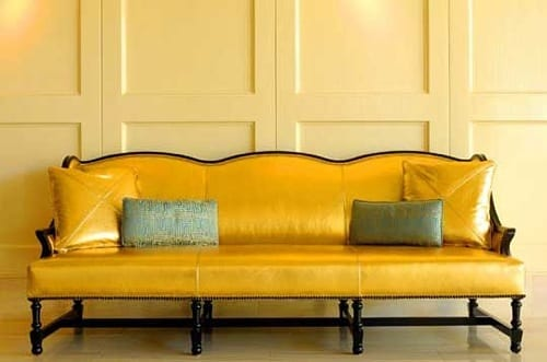gold leather sofa