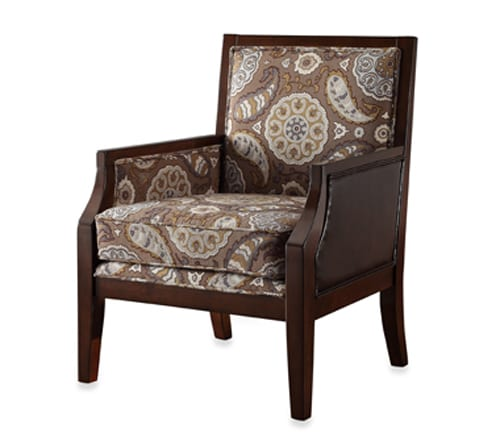 brown patterned accent chair