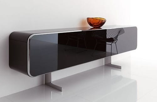 black glass sideboard