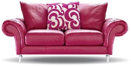 pink leather sofa