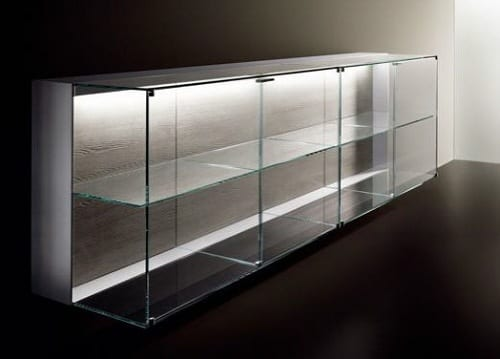 lighted glass sideboard