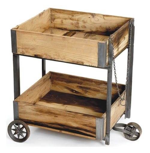 reclaimed wooden shop cart