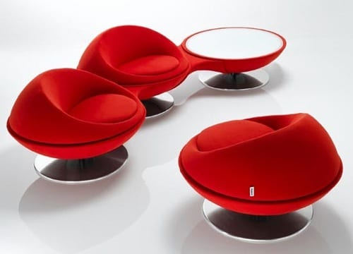 plush modern red chair