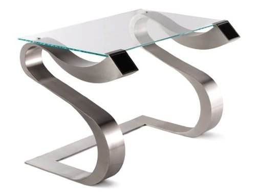 silver and glass desk