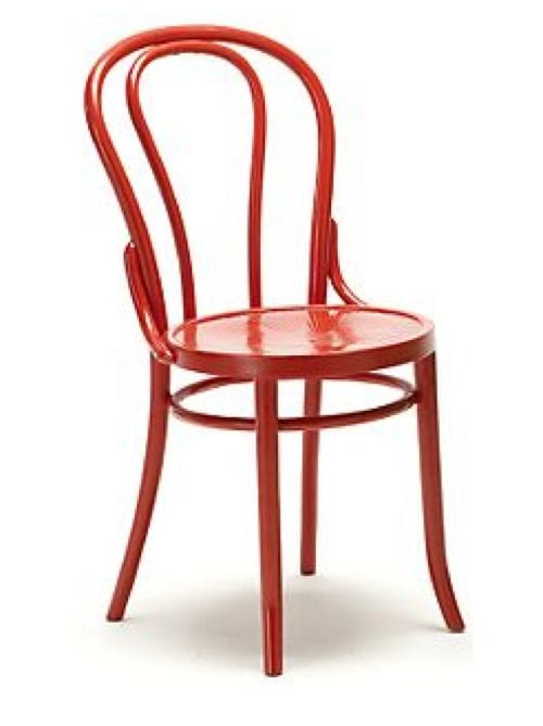 red bent wood chair