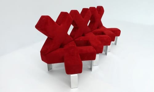 unique red couch