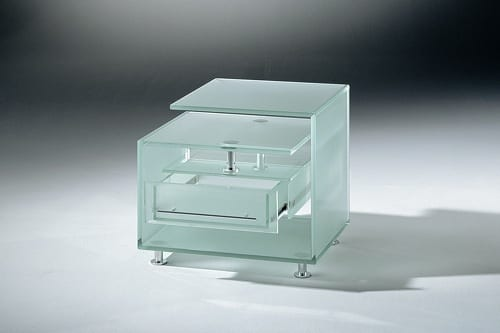 frosted glass end table