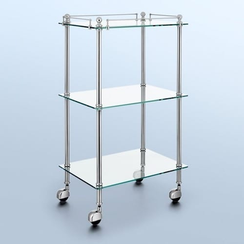 clear glass trolley