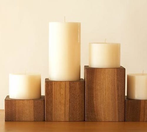 sustainable wood candle holders