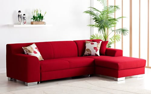 red couch with ottoman